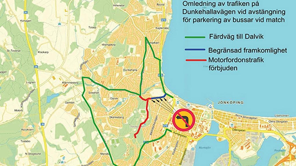 Karta för omledning av trafik