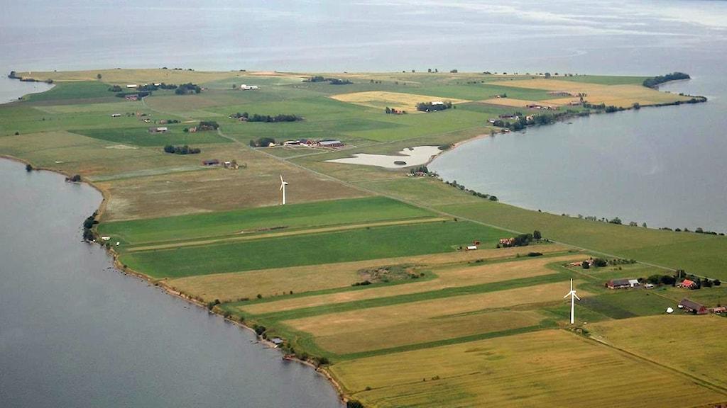 Flygfoto över Visingsö.
