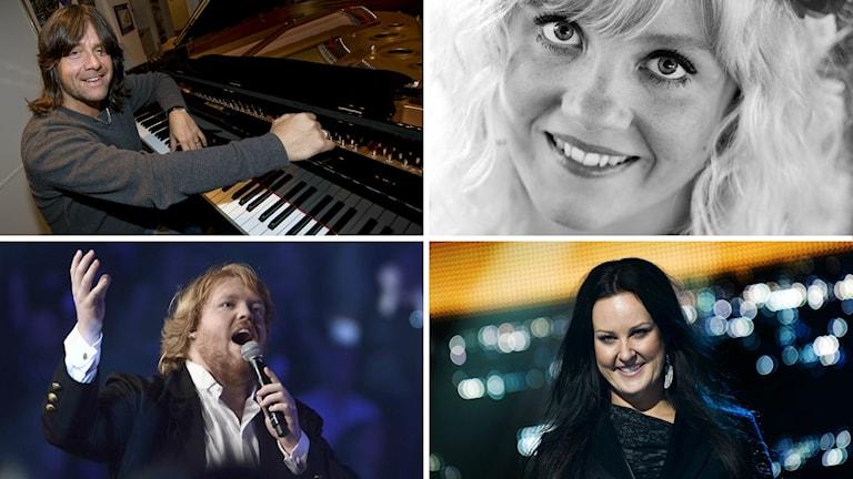 En montagebild på Robert Wells, Ida Wiklund, Martin Almgren och Nina Söderqvist.