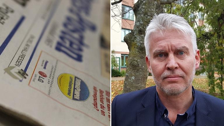 Bild på tidning och Mats Tidstrand.