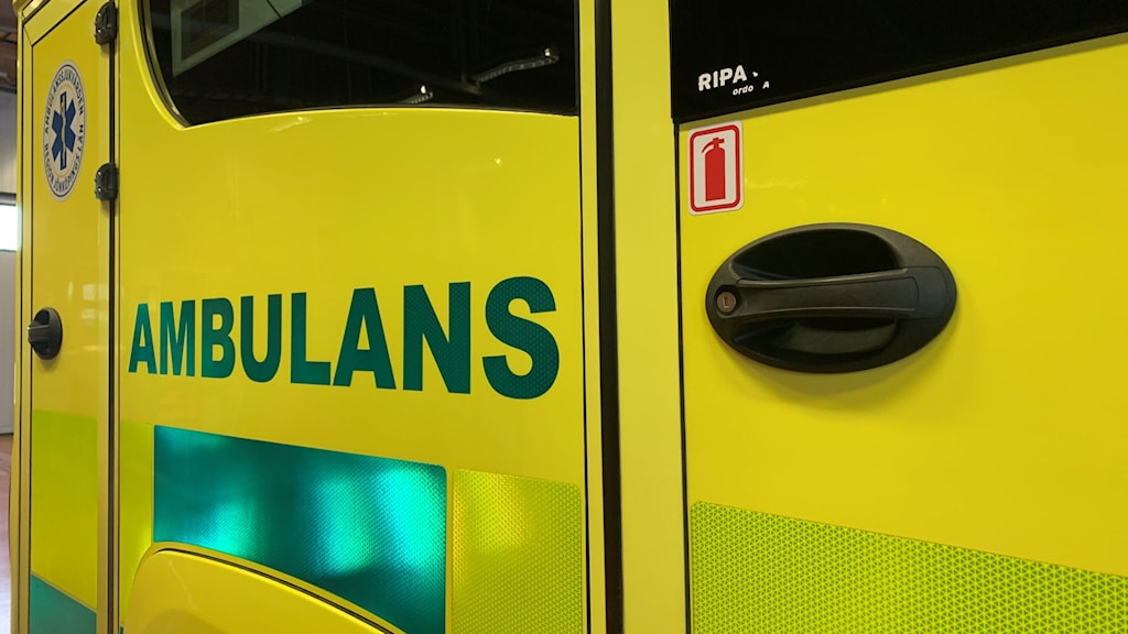 Närbild på ambulans.