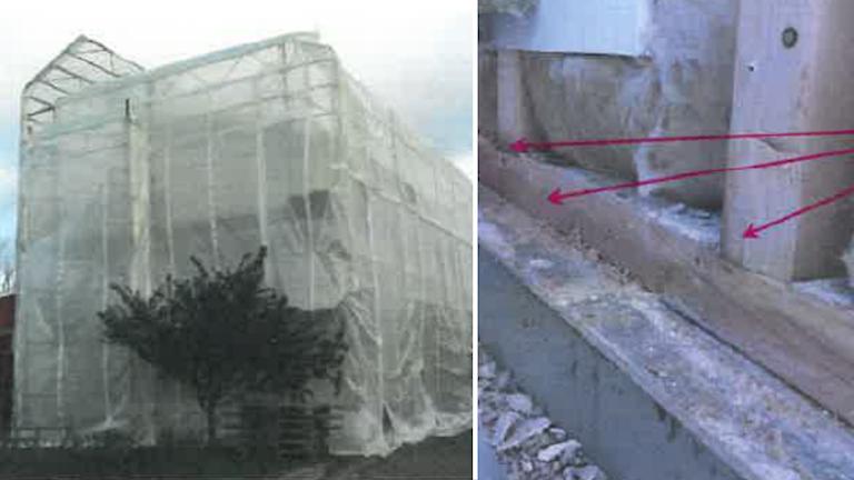 Ett hus har täckts över med plast och trä som är fuktskadat.
