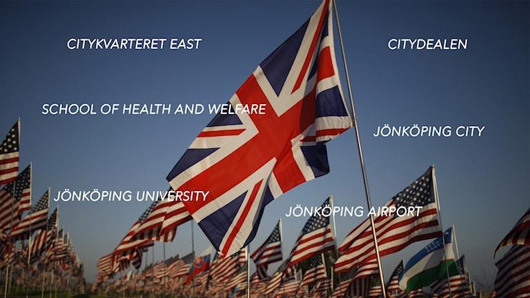 Ord på en bild av den brittiska flaggan och USA:s flagga.