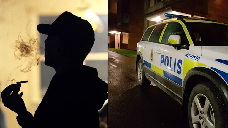 Temabild. En man röker och bredvid honom står en parkerad polisbil.