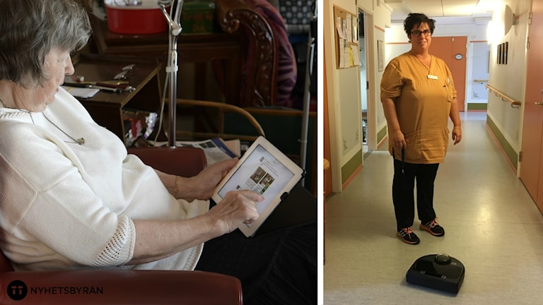 En montagebild där en äldre kvinna sitter med surfplatta och undersköterskan Jennie Kullander står framför robotdammsugaren.