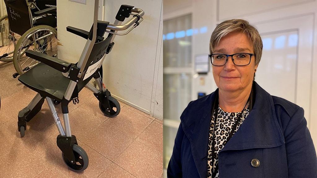 Kollage med rullstol och kvinna.