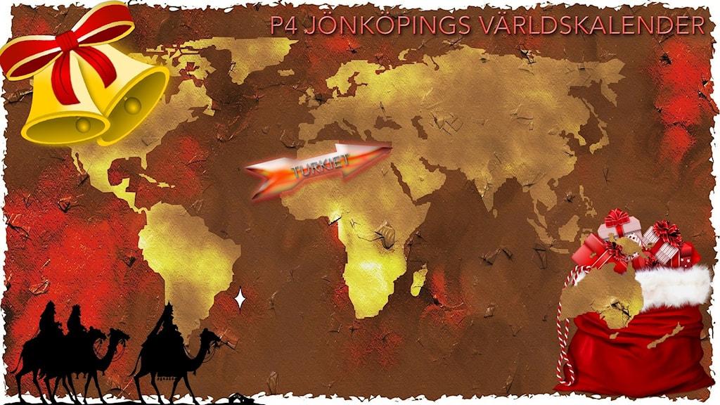 Julpyntad världskarta med pil som pekar mot Turkiet.
