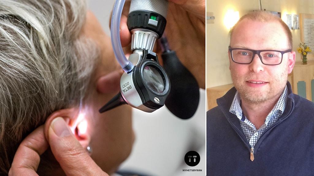 Montage: Till vänster en öronundersökning, till höger Martin Lägervik