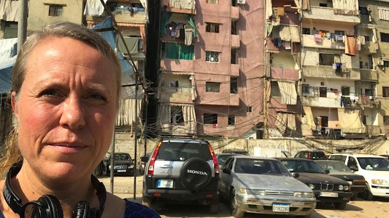 Anna Carlsson vid flyktinglägret i Libanon