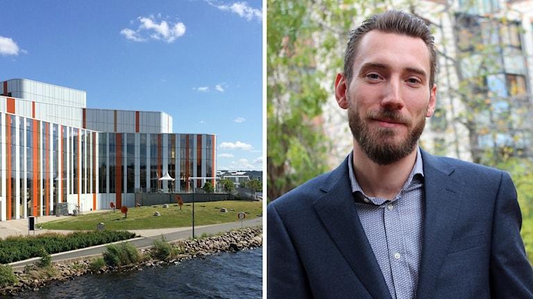 En bild på kulturhuset Spira och en bild på Mikael Ekvall.