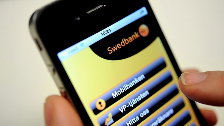 Swedbank app i mobilen.