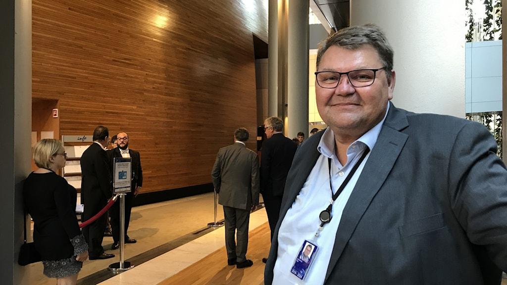 Peter Lundgren (SD) i parlamentet i Strasbourg.