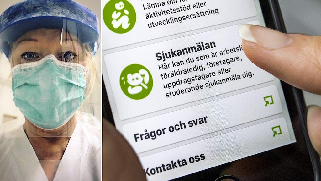 Delad bild, på ena syns Katarina Sjöstrand i skyddsutrustning på sjukhus. Andra visar Försäkringskassans app.