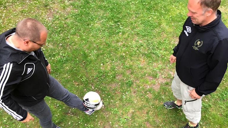 Patric Eriksson och Magnus Appelberg på Smålands fotbollsförbund.