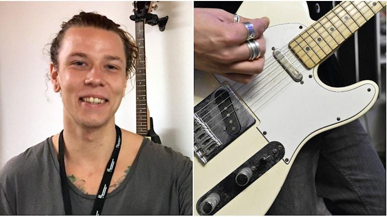 Gustav Wremer och en elgitarr