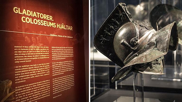 """En skylt med texten """"Gladiatorer. Colosseums hjältar"""" och en bild på en gladiatorhjälm."""