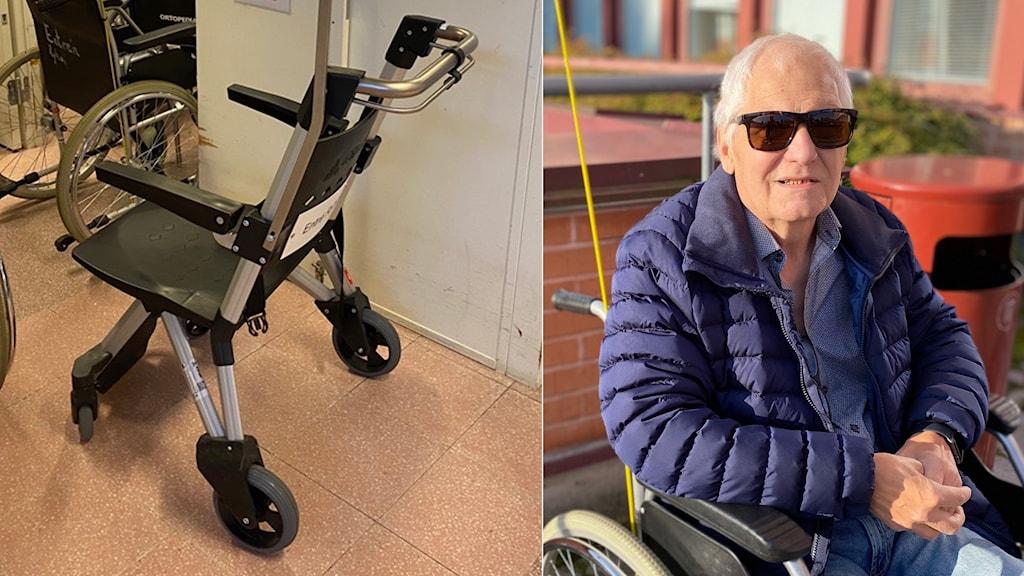 En rullstol med små hjul och men man med solglasögon som sitter i rullstol.