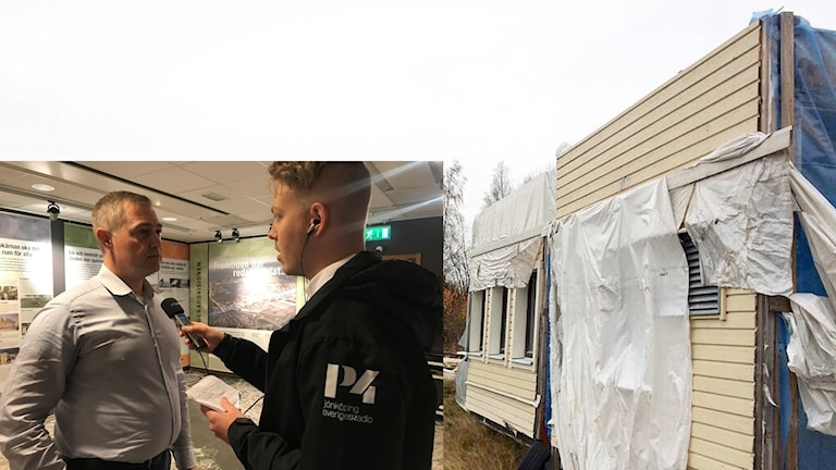 Montage av bild på trasiga modulhus och Sveriges Radio-reporter som intervjuar Daniel Håkansson.