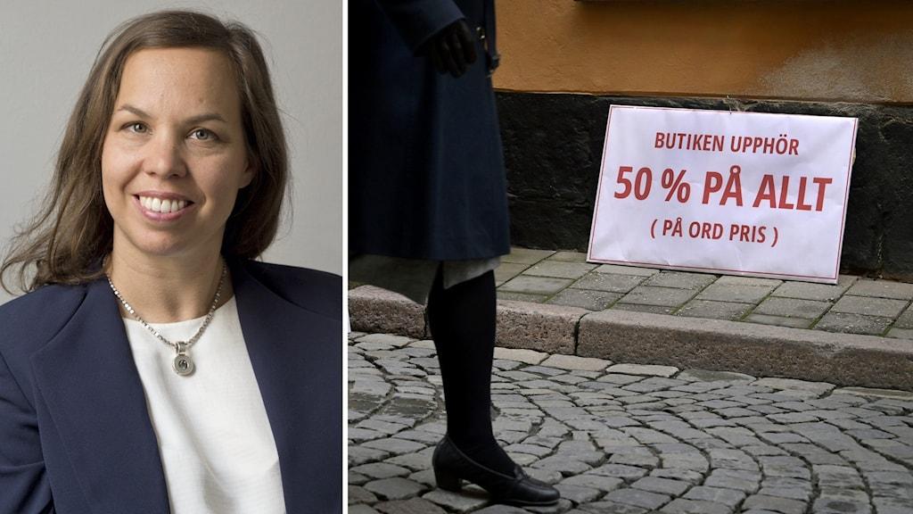 Konsumtionsforskaren Gabriella Wulff och en bild på en reaskylt med 50 procents rabatt.