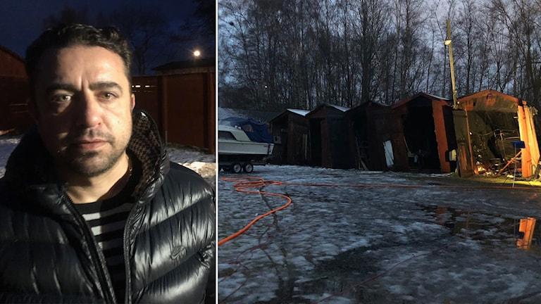 Jon Samojila vid branden i båthusen i vid Munksjöns östra strand i Jönköping.