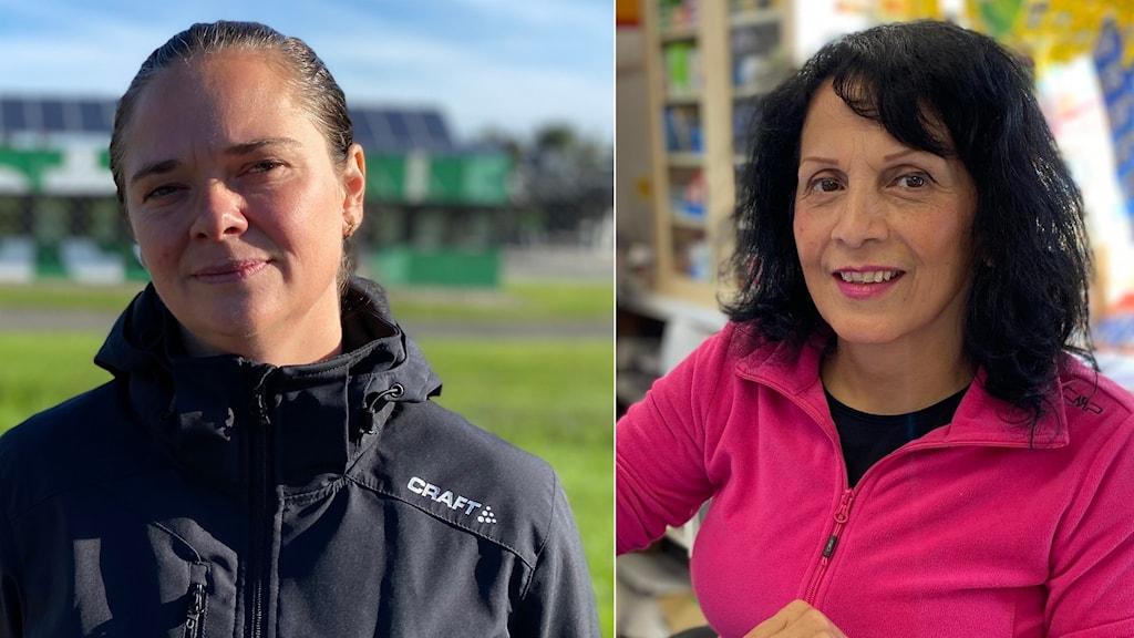 Två kvinnor, en står utanför en fabrik, den andra bakom kassan i en mindre livsmedelsbutik