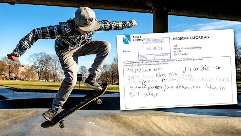 En pojke åker skateboard. En skärmdump från ett medborgarförslag är inklippt.