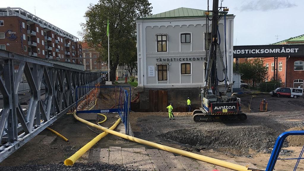 En byggarbetsplats vid Tändsticksområdet i Jönköping.