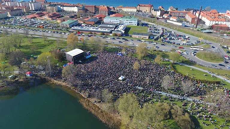 Polisen vakade över evenemanget med drönare och uppskattade att det var runt 40 000 besökare.