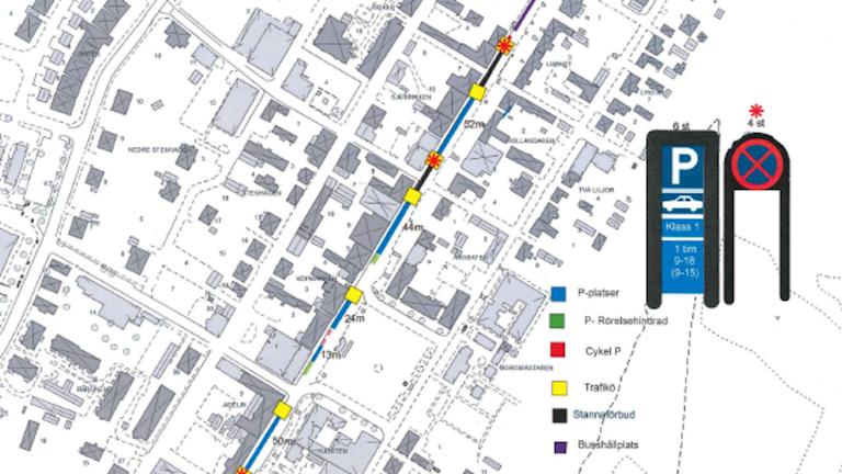 En karta över trafiken på Brahegatan i Gränna i sommar.