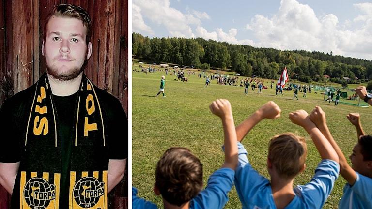 Victor Sundeborn med en Torpa AIS-halsduk och fotbollsspelande pojkar som hejar på sitt lag med armarna över huvudet.