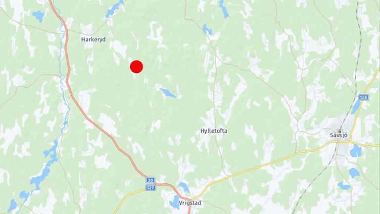 En punkt på kartan pekar ut var branden är