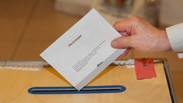 En person stoppar ner sitt valkuvert i en låda.