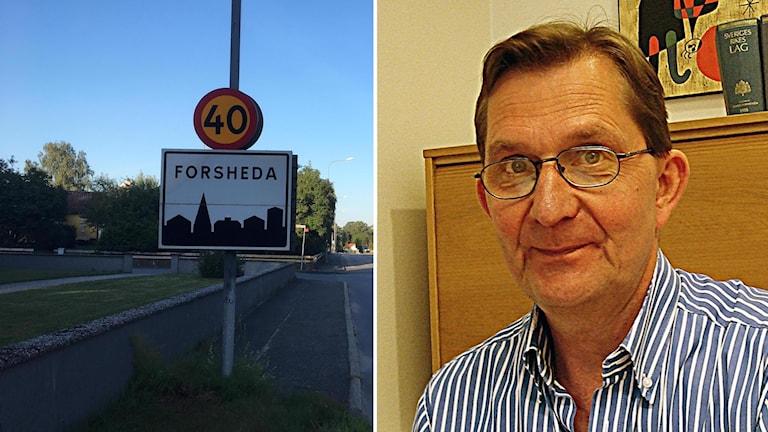Kollage med en vägskylt i Forsheda och åklagare Klas Hellgren.