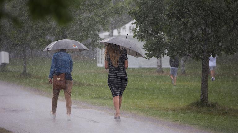 Två personer går med paraply i ösregn.