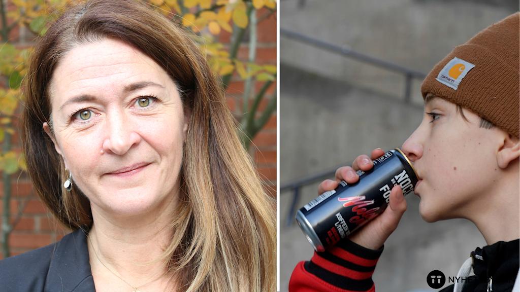 Skolläkaren Maria Lindh och en pojke som dricker energidryck.