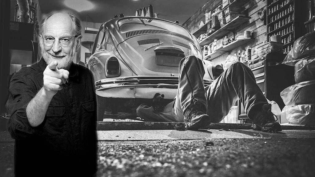 Bosse Bildoktorn Andersson i garage. Kollage.