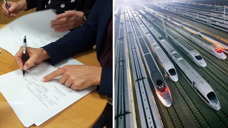 En person skriver på ett papper och en bild på höghastighetståg.
