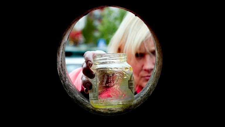 Glasburk till återvinning.
