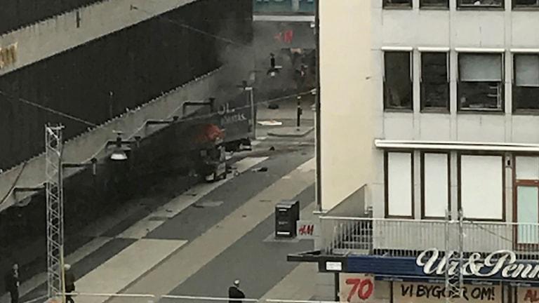 Lastbil i Stockholm.