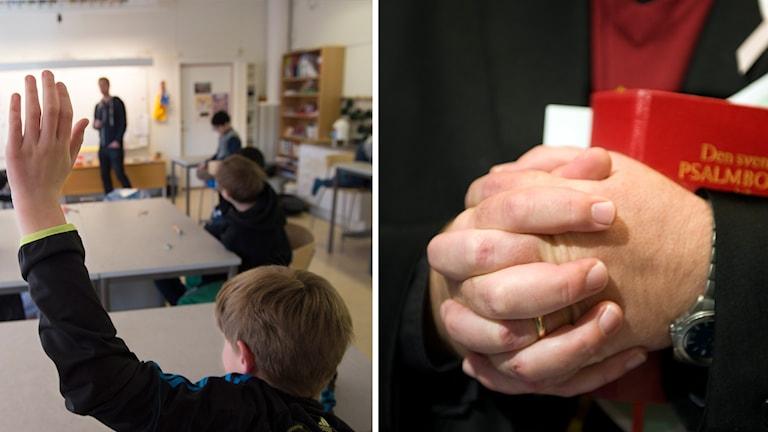En bild på en skolelev som räcker upp handen och en bild på en knutna händer och en bibel.