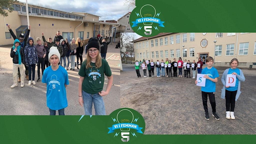 Elever med Vi i femman-tröjor på sina skolgårdar