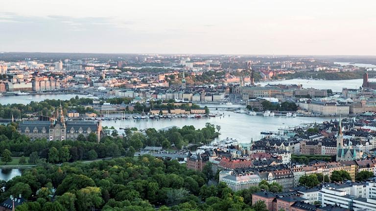 En flygbild över Stockholm.