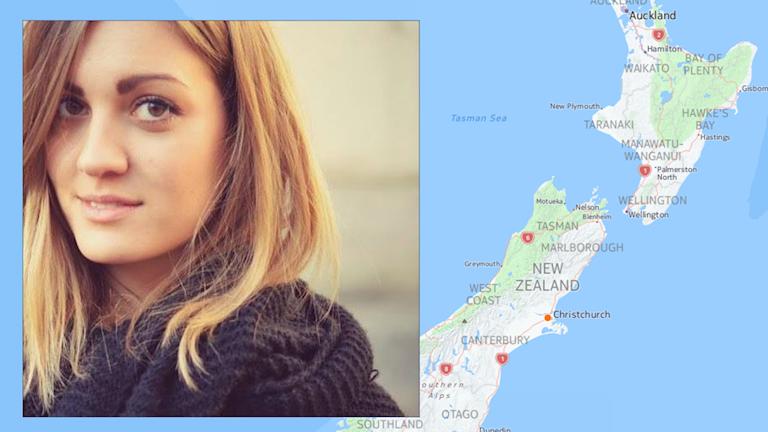 En montagebild på Stina Zinsmeister och en karta över Nya Zeeland.