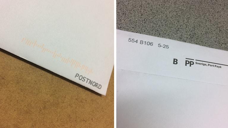 Ett brev med en Postnordstämpel och ett brev med en sifferkod.