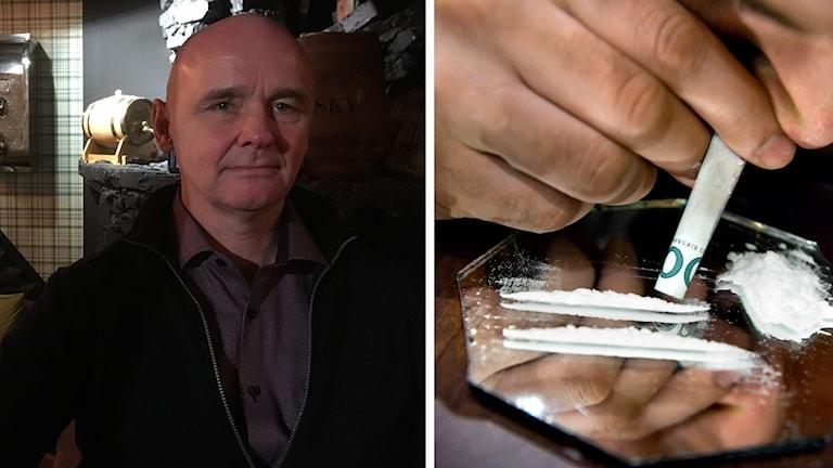 Jon Espeset och en närbild på en person som snortar vitt pulver.