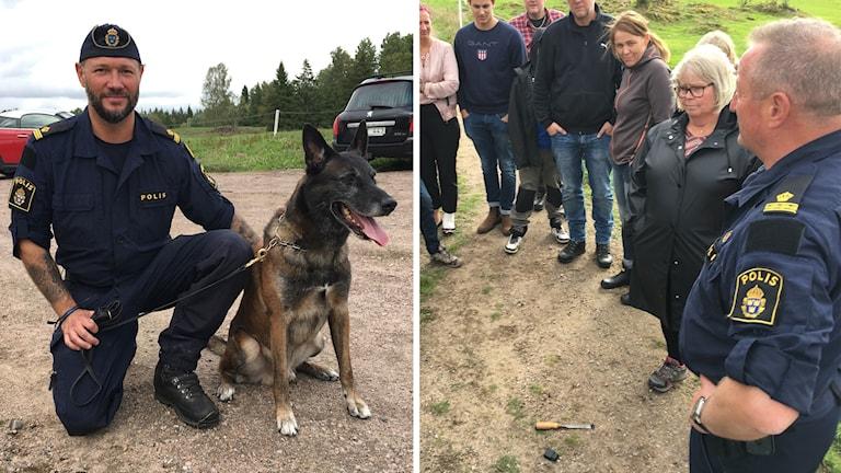 En polis sitter på huk vid en hund. Personer står runt en mejsel som ligger på marken.