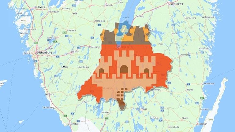 Karta Jönköpings län, med länsvapen.