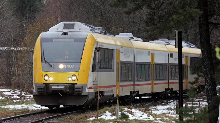 Dieseldrivet tåg på Krösalinjen.