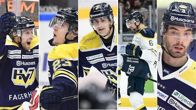 Fem spelare som lämnar HV71.