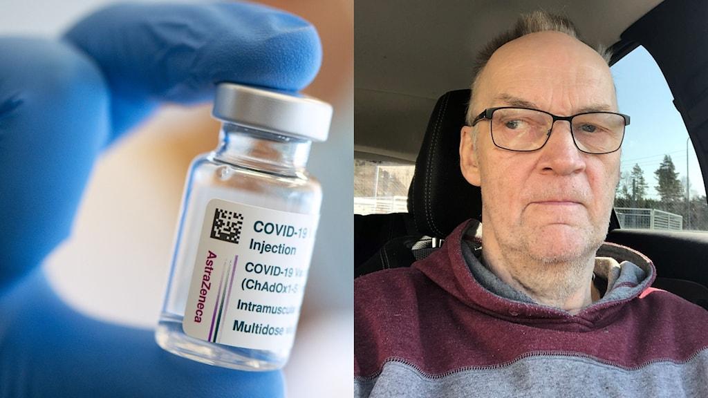 Vaccinflaska och man i bil